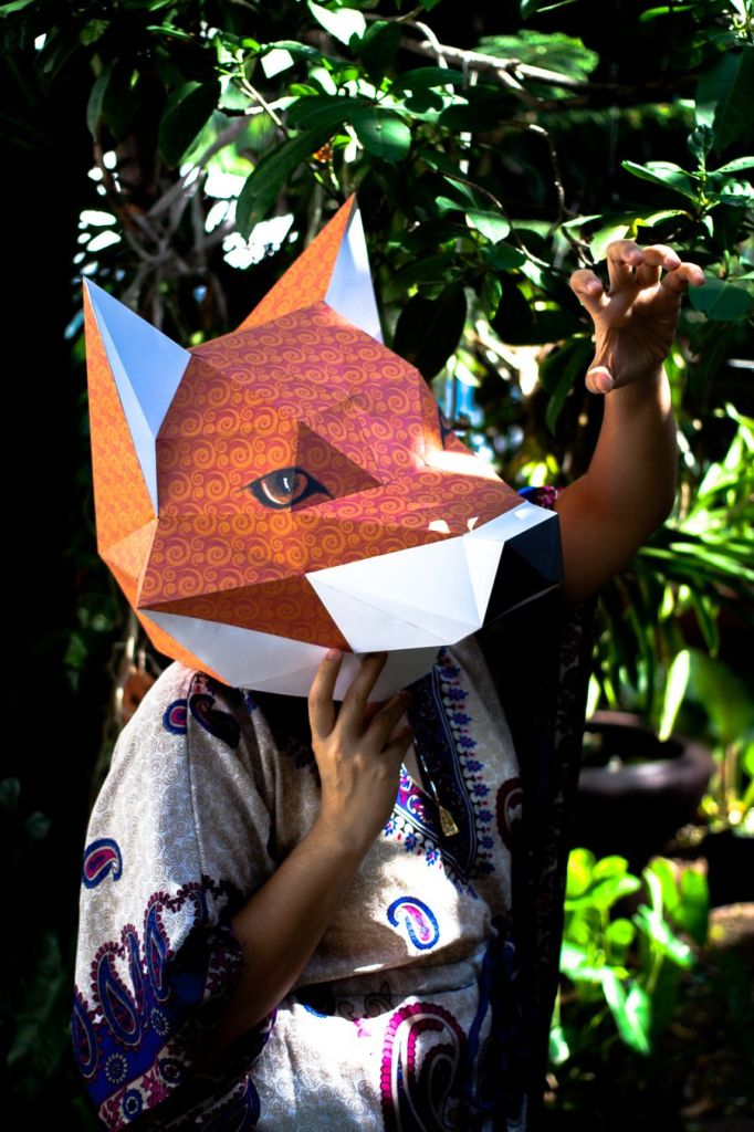 fox-head-mask-papercraft-model-pin
